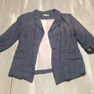 Faux Denim Blazer